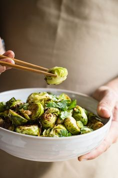 Roasted brussels sprouts tossed in Chinese five spice and hoisin sauce: