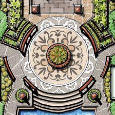 round plant box, rotunda, paving, colonnade entry, entry planter