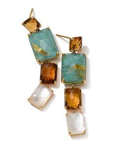 Ippolita 18k Gold Rock Candy Gelato Rectangular 4-Stone Linear Drop Earrings