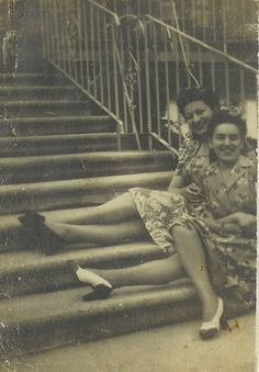 My Grandmother and Great Aunt Helen sitting on their stoop in Brooklyn in the 1940's