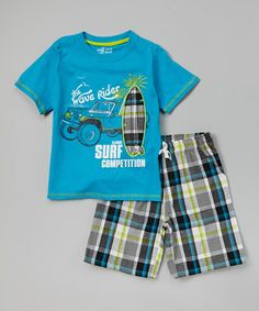 Loving this Hawaiian 'Wave Rider' Tee & Plaid Shorts - Infant, Toddler & Boys on #zulily! #zulilyfinds