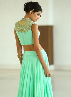 Pastel lehenga and blouse by HARSHITAA CHATTERJEE DESHPANDE