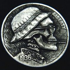 """Hobo Nickel """"Hunter s Thompson"""" Hand Carved by Robert Morris Ohns Hunter S Thompson Quotes, Hobo Nickel, Coin Art, World Coins, Skull And Bones, Really Cool Stuff, Hand Carved, Carving, Skulls"""
