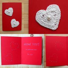 Přání k svatbě s háčkovanými srdíčky/Crochet hearts wedding greeting card