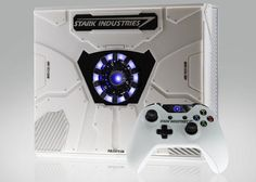 Xbox France recently unveiled a special edition Stark Industries (Iron Man) Xbox One console. In honor of Captain America: Civil War's theatrical release, Microsoft, Disney Marvel, Tony Stark, Reactor Arc, Wii, First Iron Man, Console Xbox One, Xbox One Video, Bubble