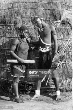 German South-West Africa, Xhosa people. Couple in front of a hut. -... Pictures | Getty Images