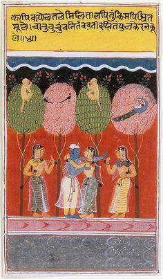 Krishna Revels with the Gopis: Page from a Dispersed Gita Govinda (Loves of Krishna) Date: ca. 1630–40 Culture: India (Madhya Pradesh, Malwa) #MetMuseum