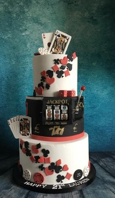 Casino poker theme 21st cake with slot machine by Meme's Cakes
