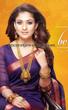 Latest Indian Gold and Diamond Jewellery Designs: Nayanthara in GRT jewellery South Indian Jewellery, Indian Jewellery Design, Indian Jewelry, Jewellery Designs, Necklace Designs, Jewelry Patterns, Indische Sarees, Diamond Jewellery, Gold Jewelry