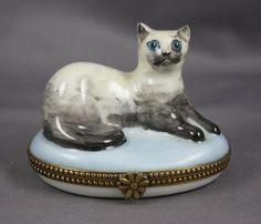 Limoges Porcelain Oval Trinket Box Figural Cat | eBay