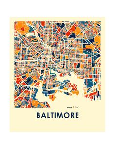 Baltimore Map Print Full Color Map Poster by iLikeMaps on Etsy