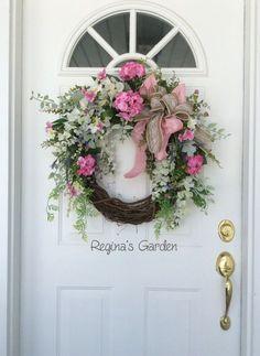 Spring Wreath-Spring Door Wreath-Easter by ReginasGarden on Etsy