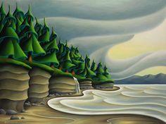 Mystic Beach 36 x 48 2015 Canadian Artists, Canadian Painters, Landscape Art, Landscape Paintings, Landscapes, Naive Art, Art Studies, Surreal Art, Tree Art
