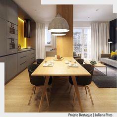 Quando o apartamento é compacto integrar os ambientes de sala e cozinha torna-se a melhor opção para um melhor aproveitamento do espaço. Deem um zoom no detalhe da iluminação de led no contorno do fogão que ficou sensacional. Por Juliana Pires Ad Pinterest/ arqdecoracao @arquiteturadecoracao @acstudio.arquitetura #arquiteturadecoracao #olioliteam #instagrambrasil #decor #arquitetura #adcozinha #cozinha #kitchen #comedor