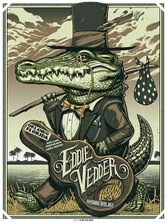 Munk One Eddie Vedder Orlando, Tulsa and Memphis poster Rock Posters, Band Posters, Music Posters, Retro Posters, Poster Vintage, Eddie Vedder, Pearl Jam Posters, Ps Wallpaper, Fantasy Anime