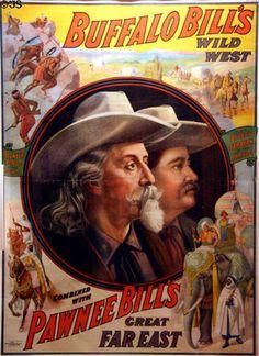 Poster C1908 For Buffalo Bills Wild West Pawnee Bills Show Printed
