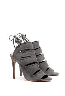 Sloane Grey Ankle Wrap High Heel Aquazzura