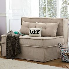 "Cushy Sleeper Sofa #potterybarnteen  @Danielle Lien  This says under window seating and ""sleepover"" all in one!! I might have to get this one for Soph...."