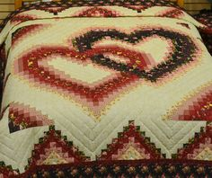 bargello linking hearts quilt pattern | Linking Hearts Quilt (D188) Queen-100x112 Red/Black