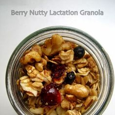 Berry Nutty Lactation Granola Recipe Breakfast and Brunch with rolled oats, sliced almonds, walnut pieces, flax seed meal, brewer's yeast, honey, coconut oil, vanilla, sea salt, raisins, dried cranberries, dried blueberries