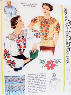 1930s BEAUTIFUL Smocked Embroidered Peasant Blouse Pattern McCALL 402 Tuck In or Overblouse Transfers Included For Gorgeous Embroidery and Smocking Size Large Vintage Sewing Pattern FACTORY FOLDED