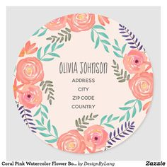 Coral Pink Watercolor Flower Bouquet Address Label Office Essentials, Watercolor Rose, Address Labels, Different Shapes, Coral Pink, Custom Stickers, Art Pieces, Bouquet, Roses