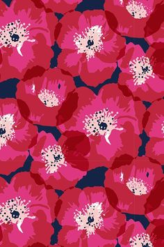 Red and Pink Poppies on Indigo by Jill Byers. This colorful poppies illustration. Red and Pink Pop Pink Wallpaper, Flower Wallpaper, Nature Wallpaper, Pattern Wallpaper, Wallpaper Backgrounds, Iphone Wallpaper, Fabric Wallpaper, Beautiful Wallpaper, Heart Wallpaper