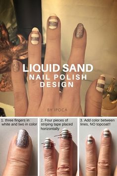 Liquid sand nail design. OPI make him mine. OPI baby please come home. OPI Alpine Snow. Easy step by step tutorial. From iPoca.weebly.com