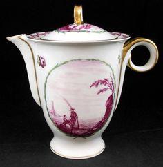 Haviland MALMAISON (OLDER, PURPLE SCENE) Coffee Pot Vintage A+ (lid repaired) #HAVILAND