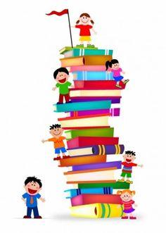 Kids Climb A Stack Of Books
