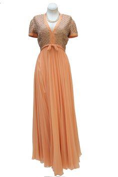 Cabaret Vintage - 1960s Peach Chiffon Gown , $395.00 (http://www.cabaretvintage.com/new-arrivals/1960s-peach-chiffon-gown/)