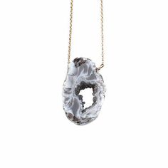 """BLACK AGATE NECKLACE by JULIA SZENDREI. Drusy sliced Agate, natural color tones: black, white & browns. 18.5"""" set length. Agate pendants will vary between 1-2"""" Agates will vary in their shape, size, and color tones but will all be uniquely beautiful. Shop Now www.juliaszendrei.com"""