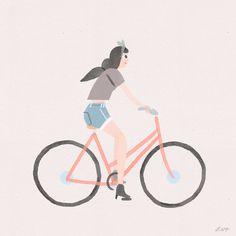Bike Valentine animated gif by Libby Vanderploeg
