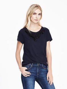 Embellished Short-Sleeve Top | BANANA REPUBLIC saved by #ShoppingIS