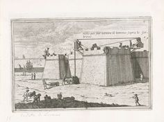 Cornelis Meijer | Manier om materialen op te hijsen, Cornelis Meijer, Anonymous, 1696 | Met een hijskraan worden materialen opgehesen naar de bovenzijde van een fort. Mannen staan met kruiwagens bij de plaats waar de spullen worden opgehesen.