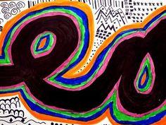 Grade 'Bold Line' Design (Hoens) from Brunswick Acres Elementary School Art Lessons For Kids, Art For Kids, Art Projects, Group Projects, Arts Ed, Elements Of Design, Art Lesson Plans, Art Portfolio, Teaching Art