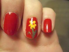 St David's Day nail art