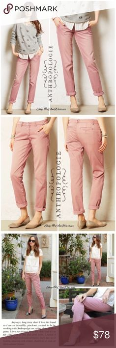 """Anthropologie {Pilcro} pink/blush Hyphen chinos Adorable Anthropologie Pilcro and the Letterpress pink/blush cotton/spandex Hyphen chinos. Excellent condition! Approx 30"""" unrolled inseam, 16"""" across waist, 9"""" rise. Shown both rolled and unrolled. Please read my bio regarding closet policies prior to any inquiries. Bundle your likes to maximum your 5lb shipping fee! 🛍📦 Anthropologie Pants Straight Leg"""