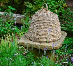 Herb Garden...with a prim bee skep.