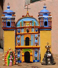 Ceramic model of the church of Santa Ana Zegache by Guillermina Aguilar and family. Ocotlan, Oaxaca, Mexico Pottery Church Oaxaca b. Mexican Artwork, Mexican Folk Art, Kitsch, I Love Mexico, Mexico Art, Talavera Pottery, South Of The Border, Mexican Designs, Mexican Style