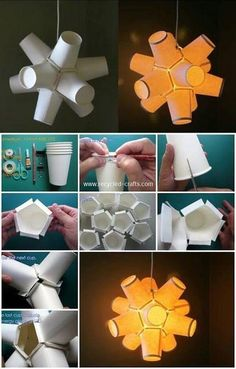 Amazing diy paper craft ideas (step by step) diwali lamps, diwali diy, Paper Cup Crafts, Paper Crafting, Crafts For Teens, Diy And Crafts, Recycled Crafts, Coffee Cup Crafts, Paper Chandelier, Mason Jar Gifts, Diy Origami