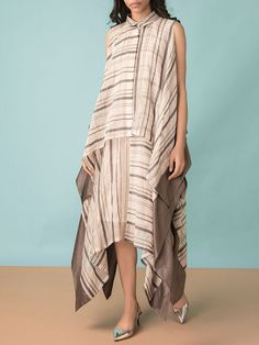 Shop Asymmetric Double Layer Dress from Kanelle Linen Dresses, Casual Dresses, Fashion Dresses, Slow Fashion, Ethical Fashion, Indian Designer Outfits, Kurta Designs, Contemporary Fashion, Dress Patterns