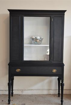 Love this painted cabinet.  Get this look with Beckley Coal by CeCe Caldwell's Chalk + Clay Paints from Vintage Bette vintagebette.com.