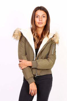 Dámska kaki bomber bunda s kapucňou Bomber Jacket, Jackets, Fashion, Down Jackets, Moda, La Mode, Bomber Jackets, Jacket, Fasion