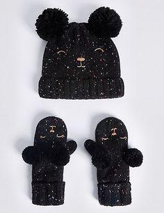 b9e392c0c05 Kids  Wool Rich Double Pom Hat   Mitten Set