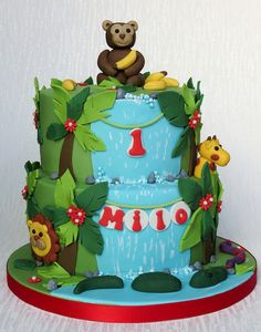Jungle Cake for 1st Birthday. Monkey, giraffe, lion, crocodile, bananas. Pam Bakes Cakes, pambakescakes