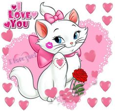 I Love You... Minnie Mouse Cartoons, Gata Marie, Cat Stickers, Love You, My Love, Disney Pictures, Love Cards, Princess Peach, Pikachu