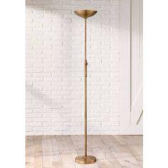 Lite Source Lemuel LED Antique Brass Torchiere Floor Lamp - #7N712 | Lamps Plus