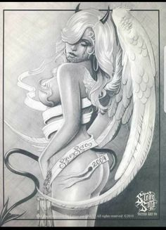pencil drawings of angels and demons Chicano Tattoos, Chicano Art, Skull Tattoos, Angel Y Diablo, Engel Tattoo, Angel Artwork, Lowrider Art, Angel Drawing, Angel And Devil