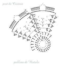 Pallina blu in filato lamé Crochet Christmas Decorations, Christmas Crochet Patterns, Crochet Snowflakes, Crochet Doilies, Crochet Flowers, Christmas Bells, Christmas Baubles, Christmas Crafts, Crochet Ball